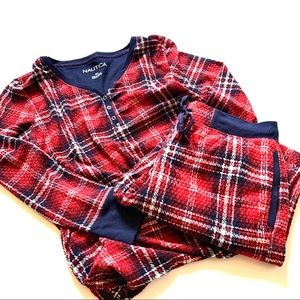 Nautica plaid pajama set red medium